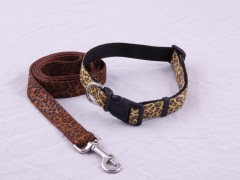 Dog Collar, Dog Harness, Dog Lead with Fabric Overlay , Combo package